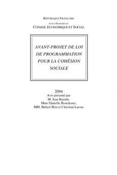 Avant-projet de loi de programmation pour la cohésion sociale