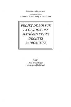 Projet de loi sur la gestion des matières et des déchets radioactifs