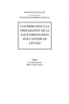 Contribution à la préparation de la loi d'orientation sur l'avenir de l'école