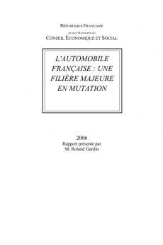 L'automoblie française  : une filière majeure en mutation