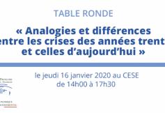"""[EVENEMENT] Table ronde """"Analogies et différences entre les crises des années trente et celles d'aujourd'hui"""""""