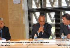 audition du ministre des Outre-mer (au centre) en présence du rapporteur M. Janky (à gauche) et sous la présidence de M. Grignon