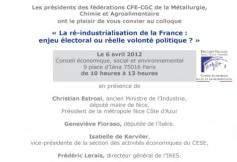 La ré-industrialisation de la France : enjeu électoral ou réelle volonté politique ? - 6 avril