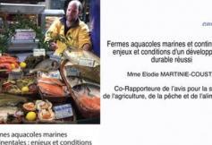 Le CESE s'est prononcé sur les fermes aquacoles marines et continentales