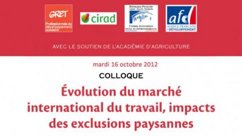 Evolution du marché international du travail, impacts des exclusions paysannes