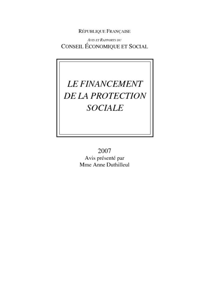 Le Financement De La Protection Sociale Travaux Publi S